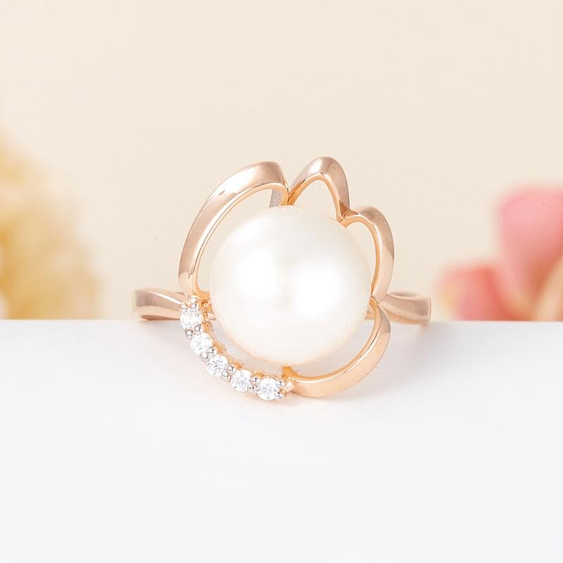 Кольцо жемчуг белый  (серебро 925 пр., позолота) размер 18,5