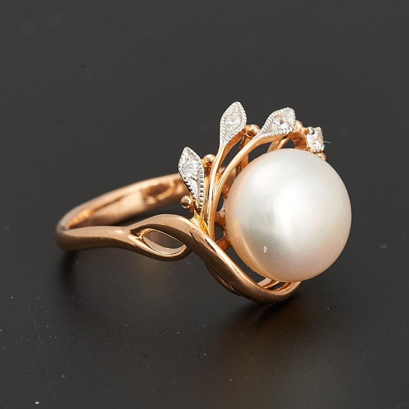 Кольцо жемчуг белый  (серебро 925 пр., позолота) размер 20