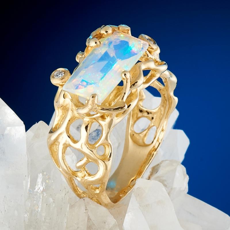 Кольцо опал благородный белый  огранка (золото 585 пр.) размер 17