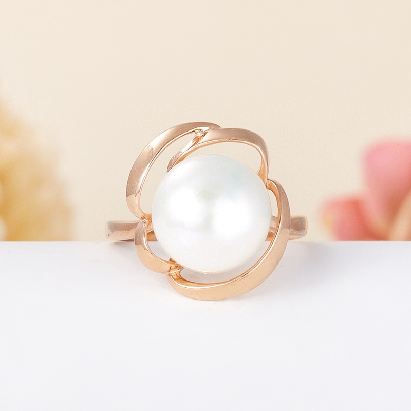 Кольцо жемчуг белый (серебро 925 пр., позолота) размер 17 цены