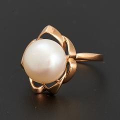 Кольцо жемчуг белый Малайзия (серебро 925 пр., позолота) размер 17