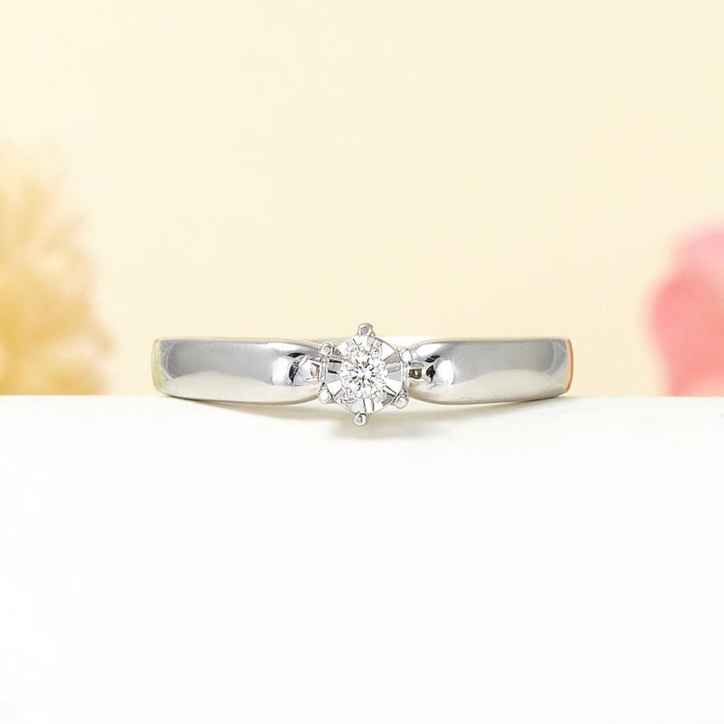 Кольцо бриллиант Россия огранка (серебро 925 пр.) размер 16