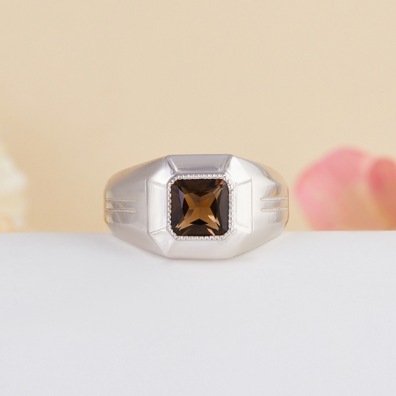 Кольцо раухтопаз  огранка (серебро 925 пр.) размер 19
