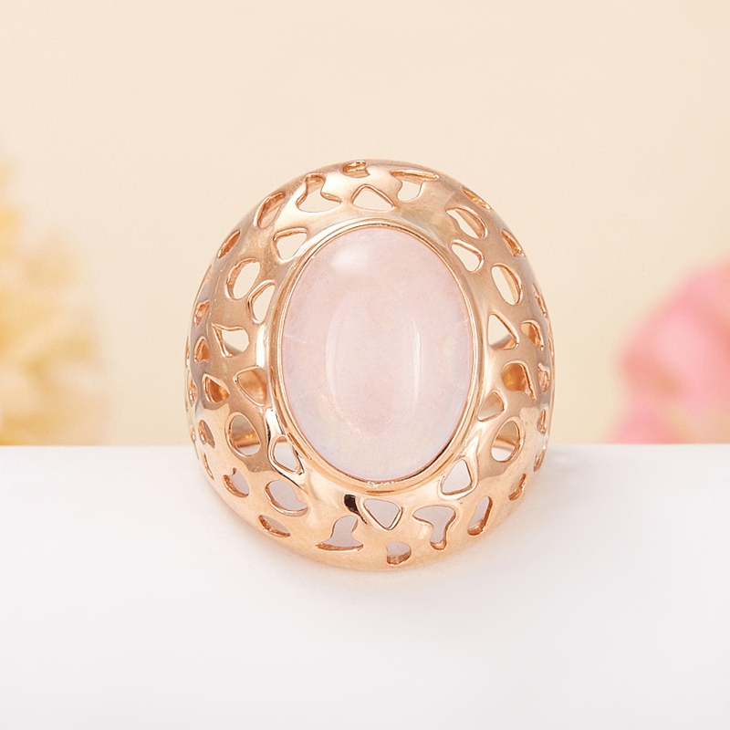 Кольцо розовый кварц  (серебро 925 пр., позолота) размер 18,5