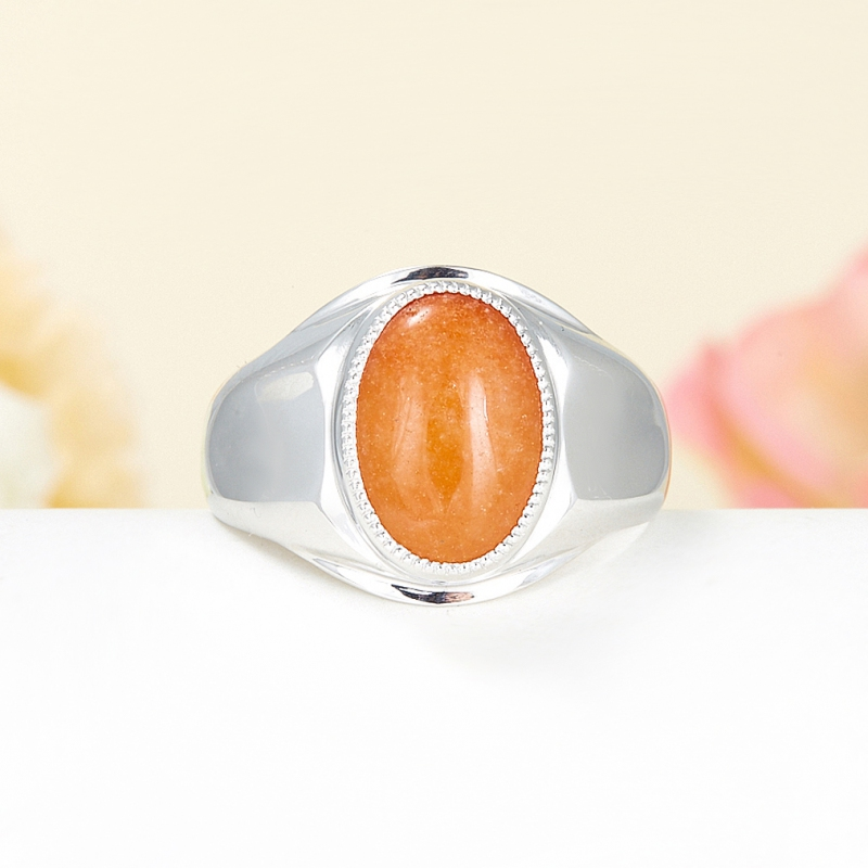 Кольцо авантюрин персиковый  (серебро 925 пр.) размер 20