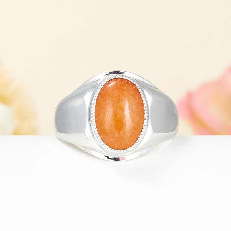 Кольцо авантюрин персиковый  (серебро 925 пр.) размер 22