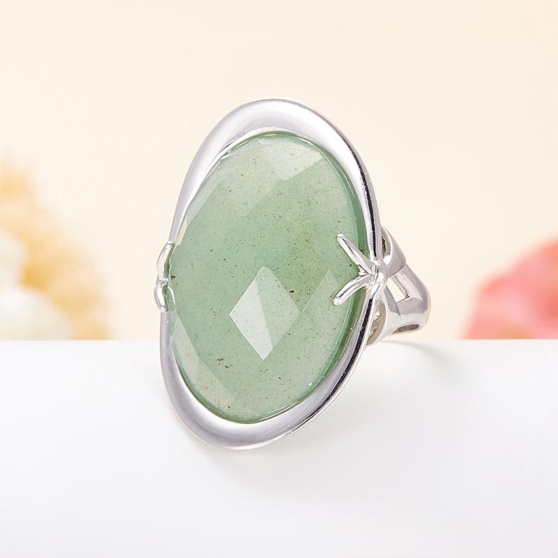 Кольцо авантюрин зеленый огранка (серебро 925 пр.) размер 17,5 кольца колечки кольцо тереза авантюрин
