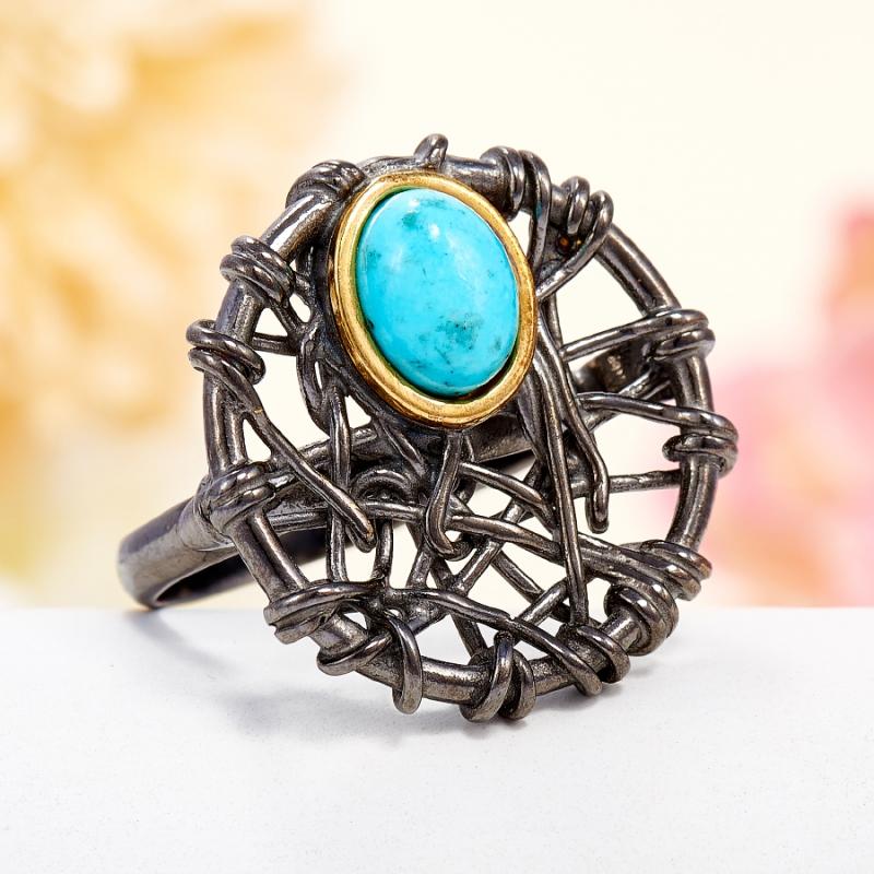 Кольцо бирюза Тибет (серебро 925 пр., позолота) размер 23