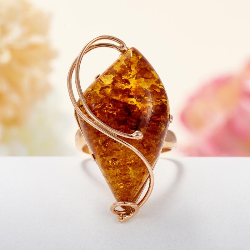 Кольцо янтарь пресс  (серебро 925 пр., позолота) размер регулируемый кольцо фуксит серебро 925 пр регулируемый размер