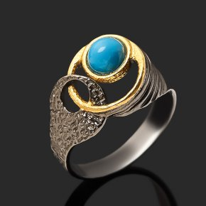 Кольцо бирюза Тибет (серебро 925 пр. позолота рутений) размер 17