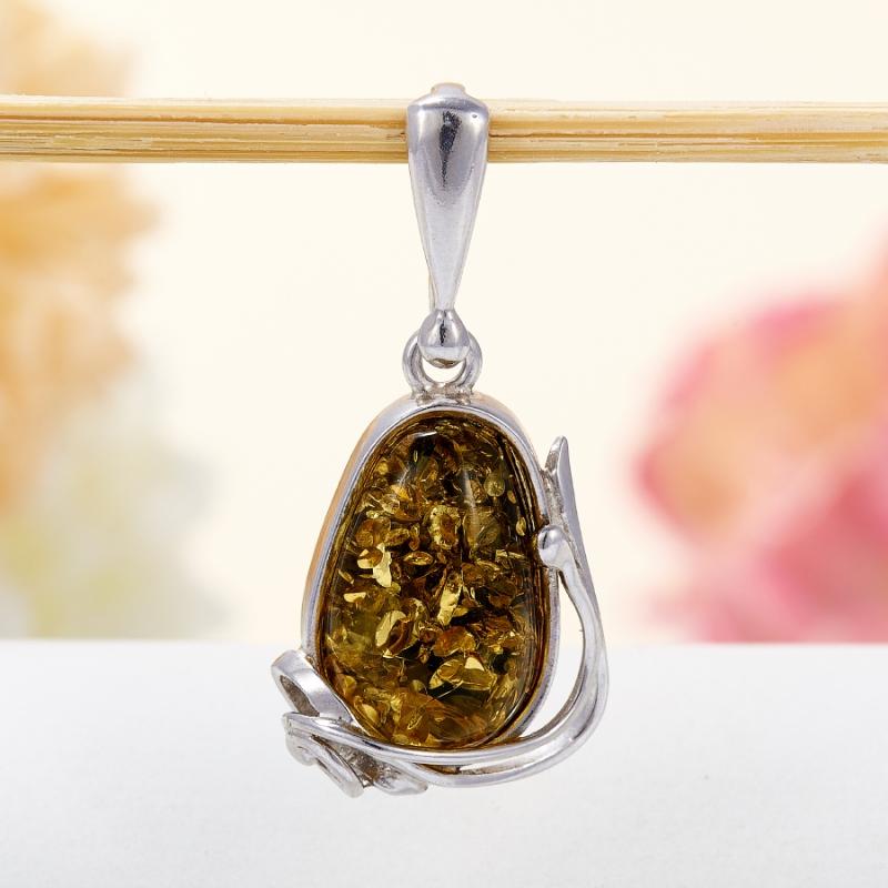 Кулон янтарь  (серебро 925 пр.)