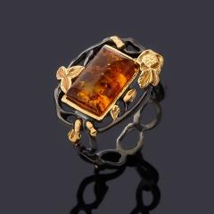Кольцо янтарь пресс Россия (серебро 925 пр. родир. черн. позолота) размер 17,5