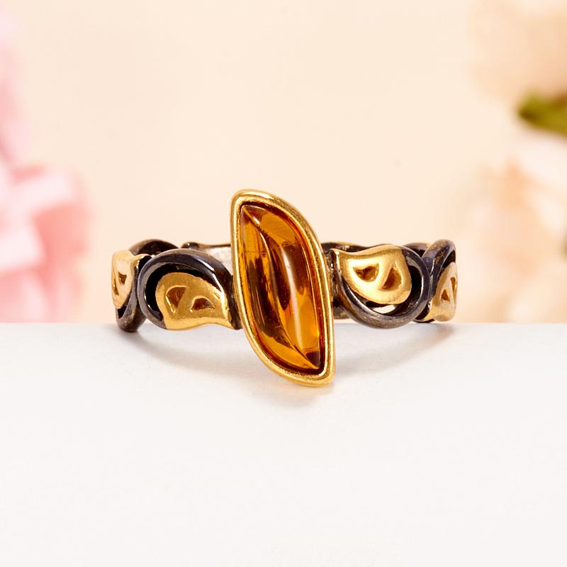 Кольцо янтарь  (серебро 925 пр., позолота) размер 19,5 кольцо янтарь серебро 925 пр позолота размер 16