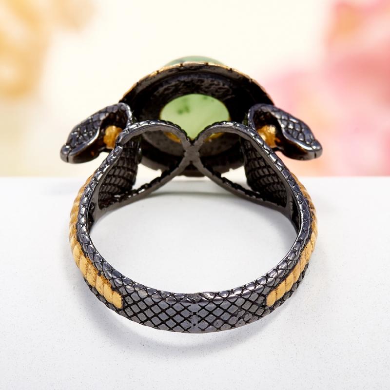 Кольцо нефрит зеленый Россия (серебро 925 пр., позолота) размер 15,5