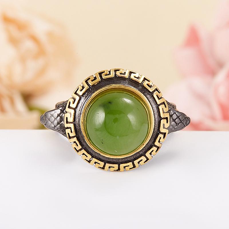Кольцо нефрит зеленый  (серебро 925 пр., позолота) размер 17 кольцо авантюрин зеленый серебро 925 пр размер 23