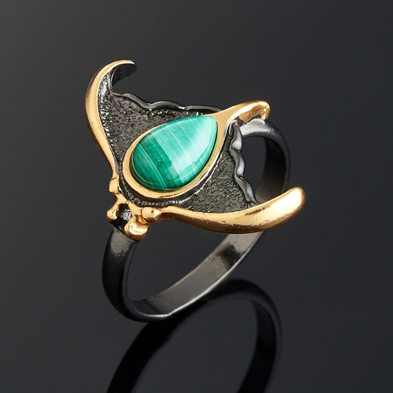 Кольцо малахит  (серебро 925 пр., позолота) размер 18,5