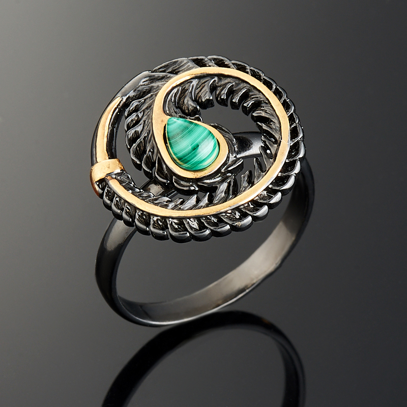 Кольцо малахит  (серебро 925 пр., позолота) размер 19,5