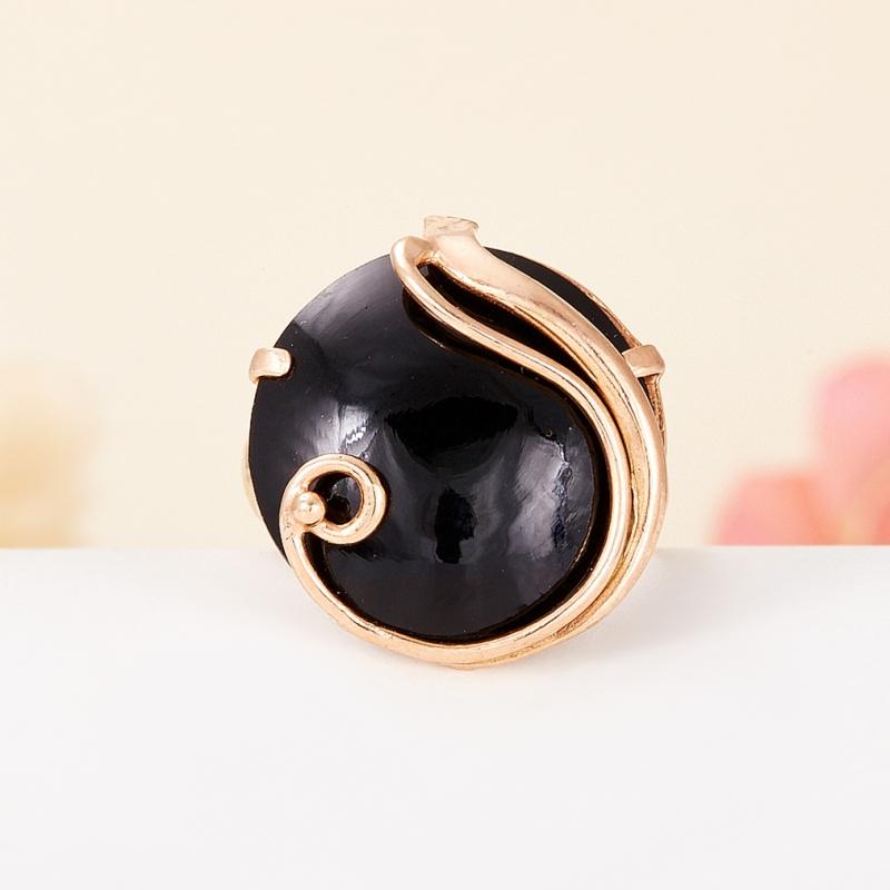 Кольцо гагат Грузия (серебро 925 пр., позолота) (регулируемый) размер