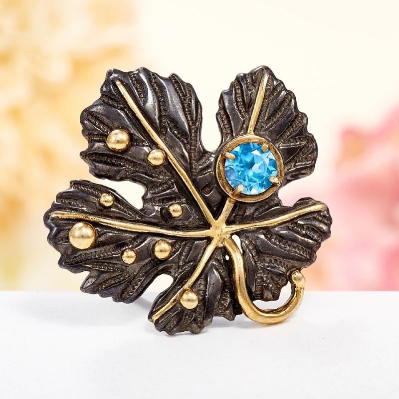 Кольцо топаз голубой огранка (серебро 925 пр., позолота) размер 17,5 кольцо коюз топаз кольцо т302017045