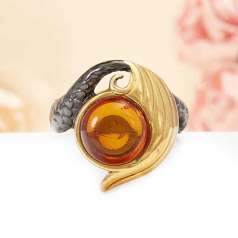 Кольцо янтарь  (серебро 925 пр., позолота) размер 18