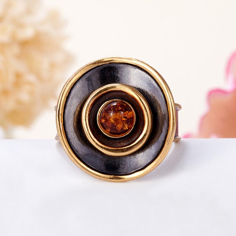 Кольцо янтарь пресс  (серебро 925 пр., позолота) размер 20,5