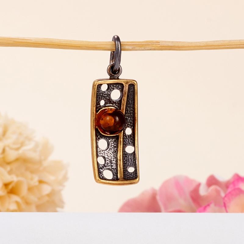 Кулон янтарь  (серебро 925 пр., позолота)