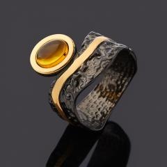Кольцо янтарь Россия (серебро 925 пр. родир. черн. позолота) размер 18,5