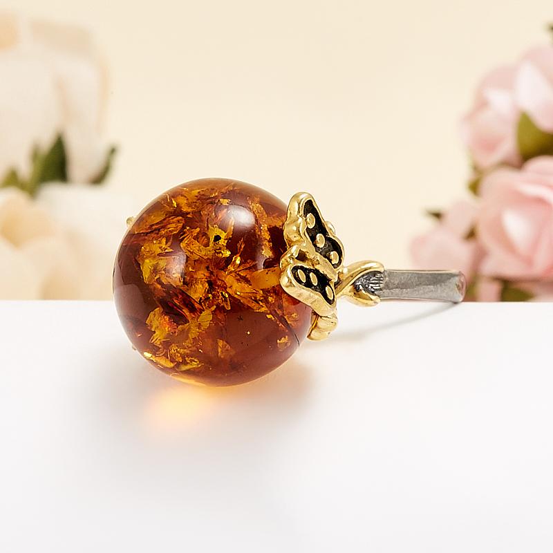 Кольцо янтарь пресс  (серебро 925 пр., позолота) размер 20 кольцо янтарь серебро 925 пр позолота размер 17 5
