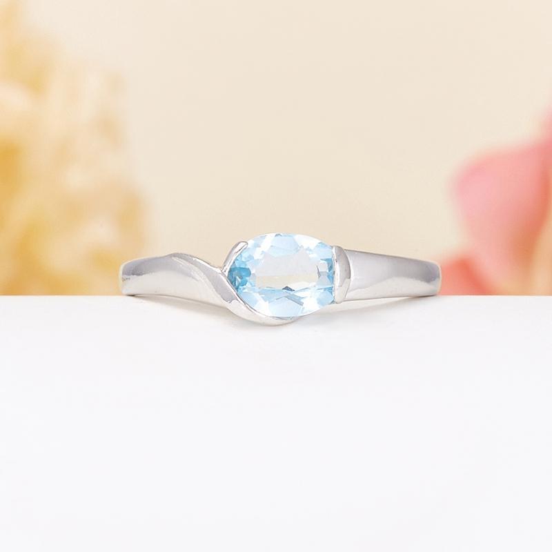 Кольцо топаз голубой  огранка (серебро 925 пр.) размер 17