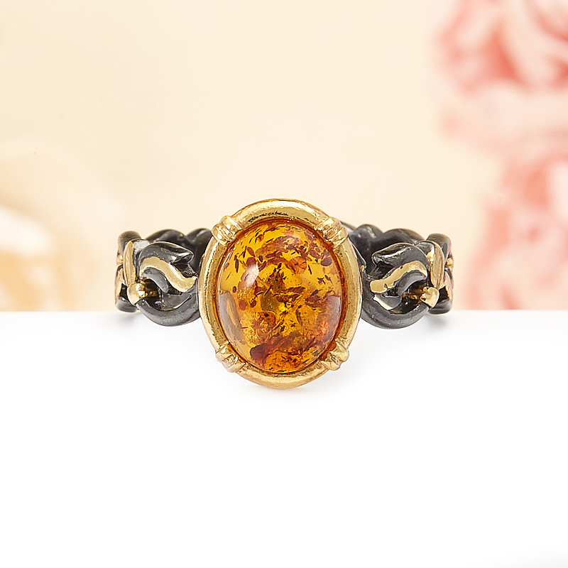 Кольцо янтарь  (серебро 925 пр., позолота) размер 17,5