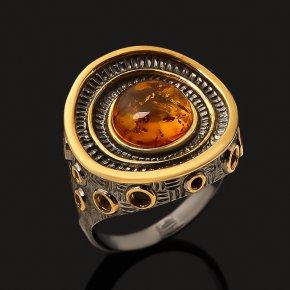 Кольцо янтарь пресс Россия (серебро 925 пр. позолота, рутений) размер 18