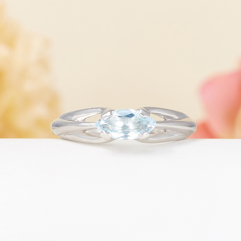 Кольцо топаз голубой  огранка (серебро 925 пр.) размер 19,5