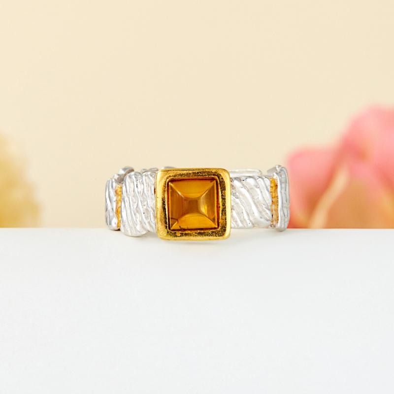 Кольцо янтарь  (серебро 925 пр., позолота) размер 17,5 кольцо янтарь серебро 925 пр размер 20 5