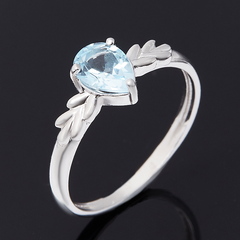 Кольцо топаз голубой огранка (серебро 925 пр. родир. бел.) размер 17,5 коюз топаз кольцо т900011471