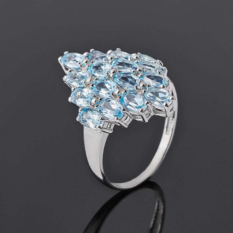 Кольцо топаз голубой (серебро 925 пр. родир. бел.) огранка размер 18 коюз топаз кольцо т131043140
