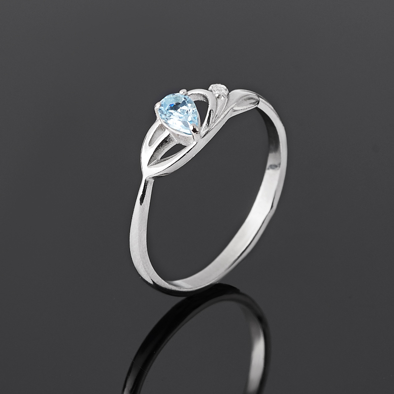 Кольцо топаз голубой огранка (серебро 925 пр. родир. бел.) размер 17 кольцо содалит серебро 925 пр регулируемый размер 17 5