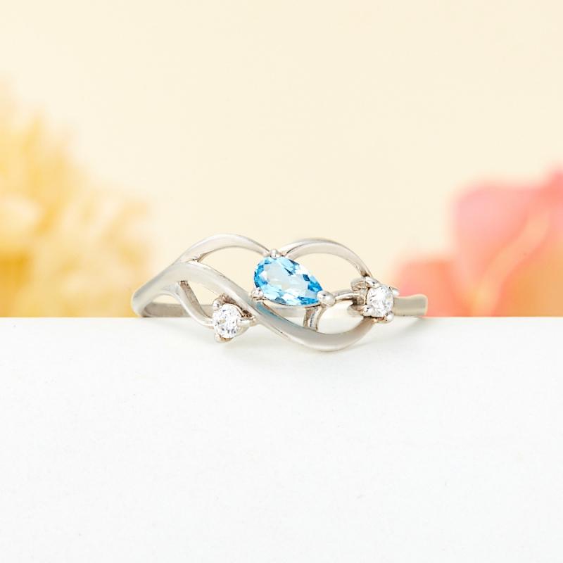 Кольцо топаз голубой  огранка (серебро 925 пр.) размер 17,5