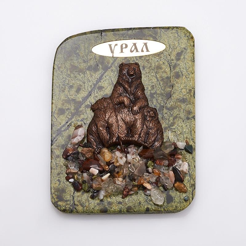 Магнит змеевик Медведица и медвежата  9х6,5 см