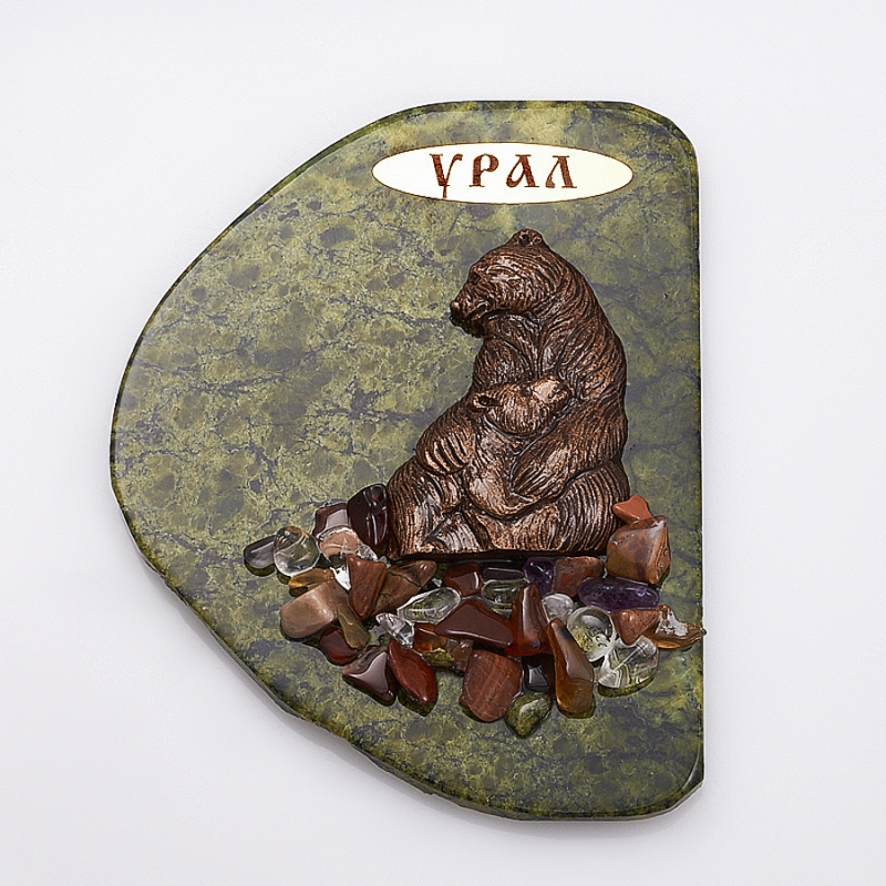 Магнит змеевик Медведица и медвежонок  10х7,5 см