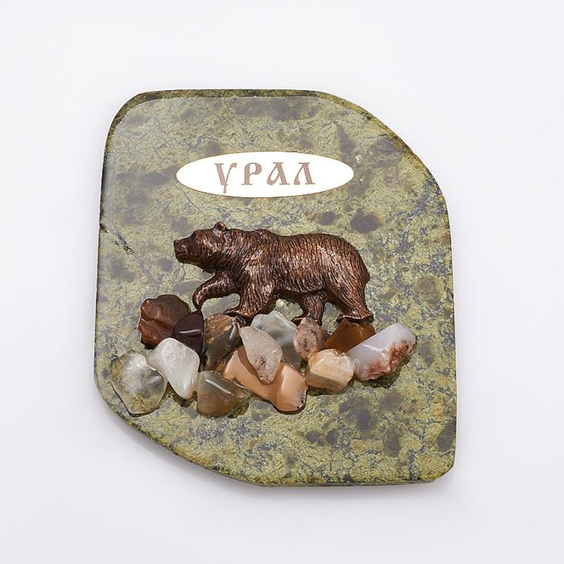 Магнит змеевик Медведь  8х6,5 см