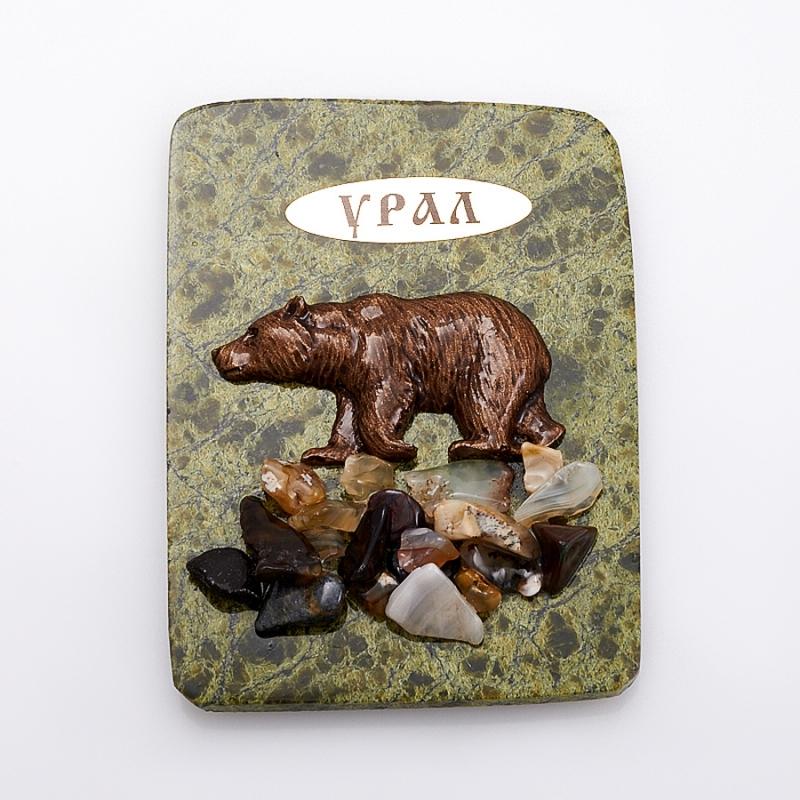 Магнит змеевик Медведь  8,5х6,5 см