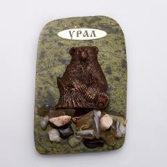 Магнит змеевик Медведь Россия 10х6 см