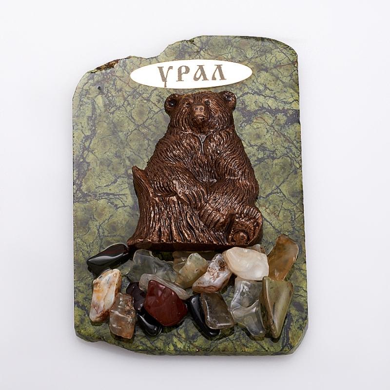 Магнит змеевик Медведь  8х6 см