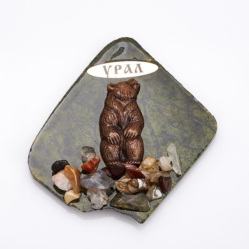 Магнит змеевик Медведь  9,5х8,5 см