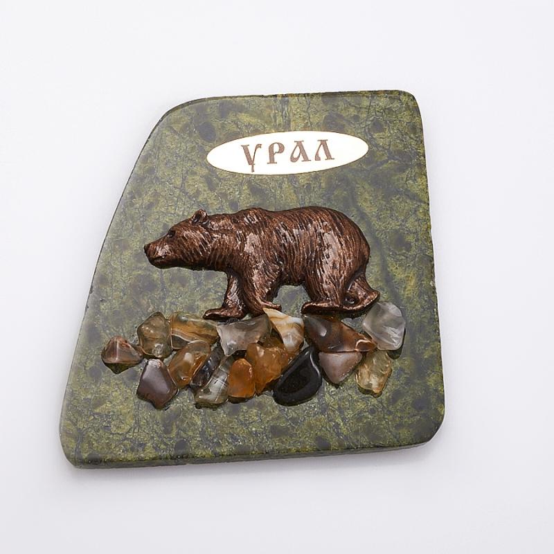 Магнит змеевик Медведь  8х8 см
