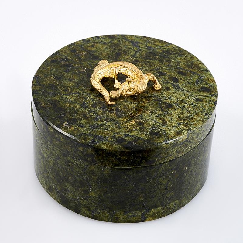 Шкатулка змеевик круглая  70х40 мм
