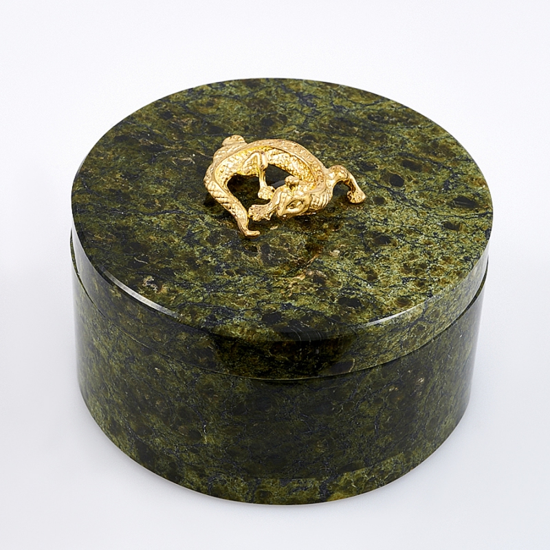 Шкатулка змеевик круглая 70х40 мм браслет джессика змеевик кахолонг