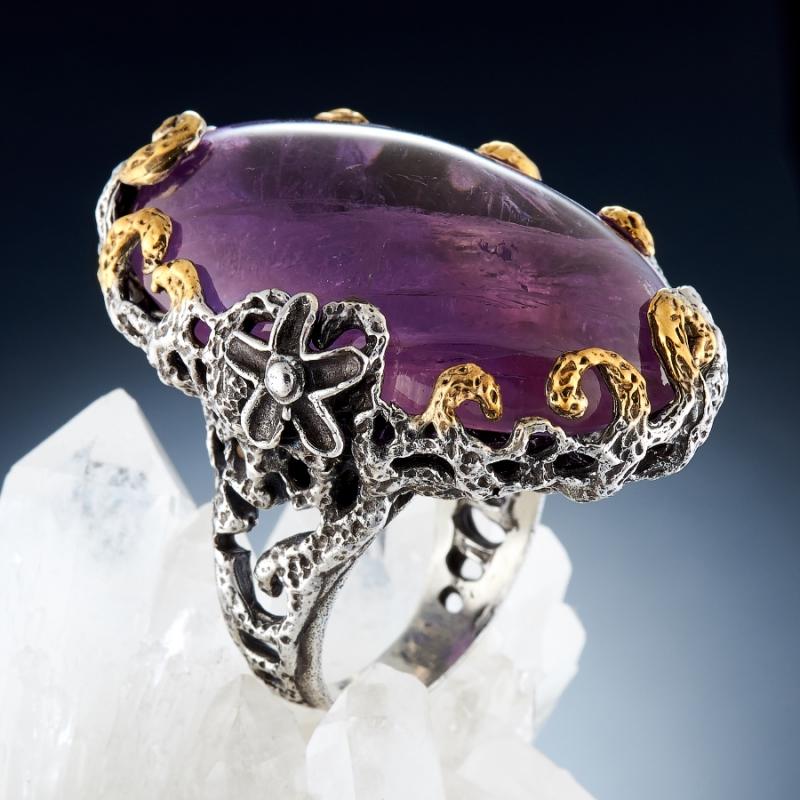 Кольцо аметист (серебро 925 пр., позолота) размер 18