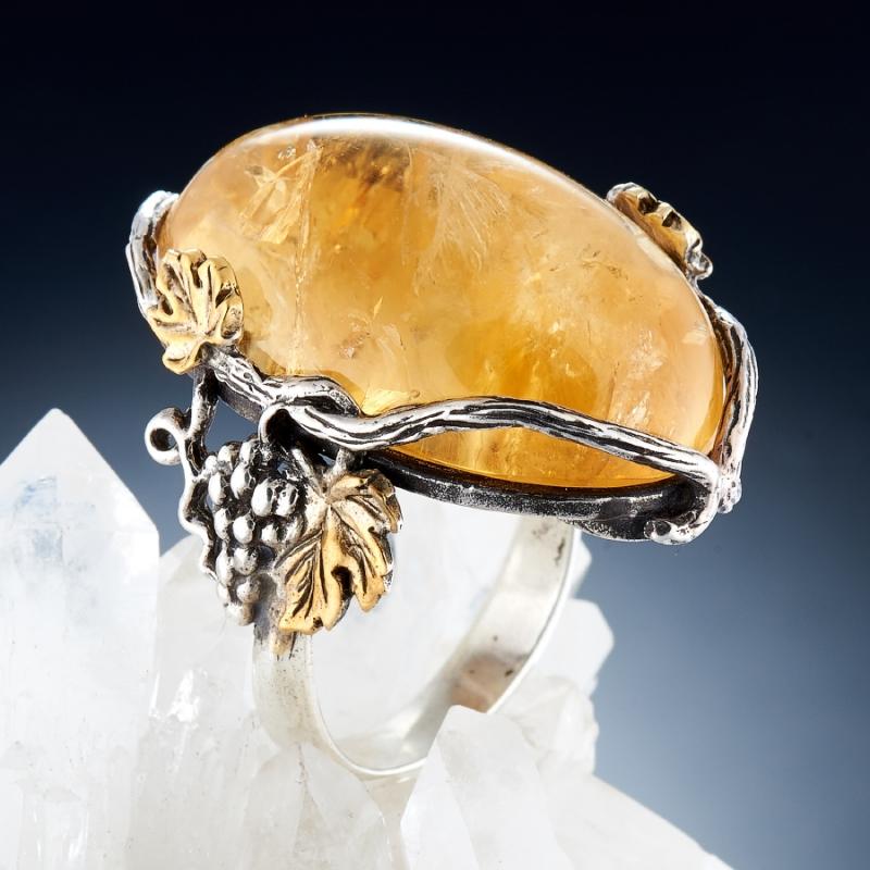Кольцо цитрин  (серебро 925 пр., позолота) размер 18