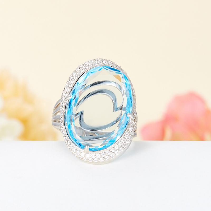 Кольцо топаз голубой огранка (серебро 925 пр.) размер 17,5 кольцо коюз топаз кольцо т147018035